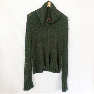 Sundance cotton crochet sweater army green sz L